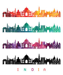 India detailed skylines. vector illustration