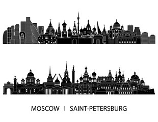 Moscow Saint Petersburgh detailed skylines. vector illustration