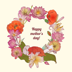 Happy mother's day. Congratulation card with flowers