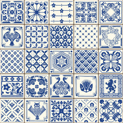 Indigo Blue Tiles Floor Ornament Collection. Gorgeous Seamless Patchwork Pattern from Colorful Traditional Painted Tin Glazed Ceramic Tilework Vintage Illustration. Vector template background Azulejos