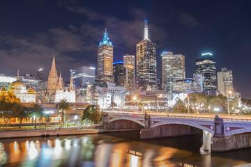 Melbourne cityscape in the night time, Victoria state of Australia.