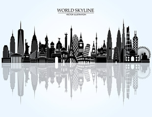 World famous landmarks skyline. Vector illustration