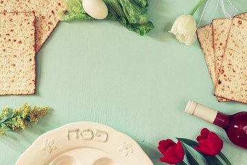 Pesah celebration concept (jewish Passover holiday) with wine and matza