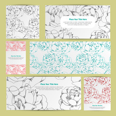 Elegant cards with Linear rose, design elements. Can be used for