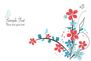 Spring time pink flowers vector illustration border design background