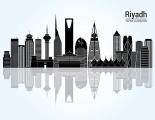 Riyadh skyline detailed silhouette. Vector illustration