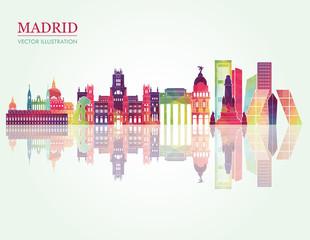 Madrid skyline detailed silhouette. Vector illustration