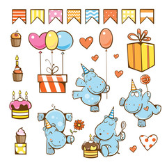 Birthday cartoon set. Cute hippopotamuses, gifts, cake, candle, balloon and candy. Vector illustration.