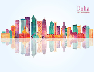 Doha skyline. Vector illustration