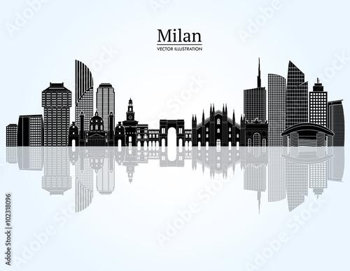 Milan skyline vector illustration immagini e vettoriali for Immagini vector