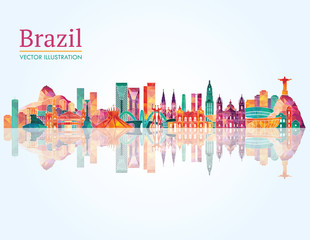Brazil Landmark skyline. Vector illustration