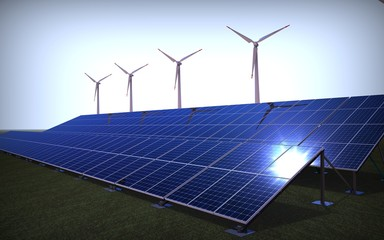 3D render of a wind farm an solar panel / Green energy Farm
