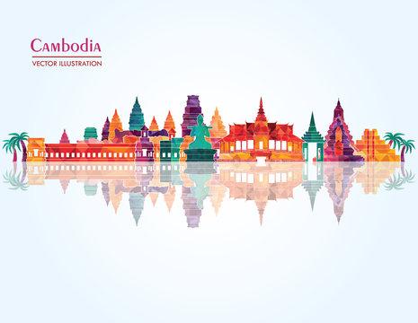 Cambodia Landmark skyline. Vector illustration