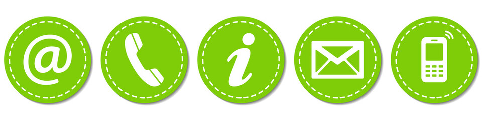 Contact Us – Round light green sticker buttons with dashed line