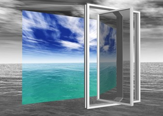 Window to paradise, seascape, a window to the sea, the freedom of the window