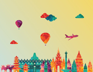 Indonesia detailed skyline. Vector illustration