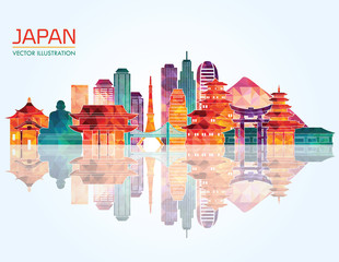 Japan detailed skyline. Vector illustration