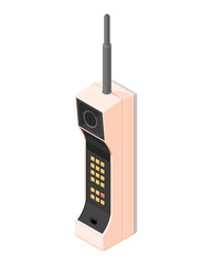 A vector illustration icon of an old 80s mobile phone.  Vintage 80s mobile phone icon illustration. Isometric Retro vintage mobile communication.