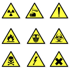 Vector illustration of various hazard icon signs. Universal symbols warning  for hazards and danger in the industria workplace.