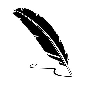 A vector illustration of Feather Quill and ink.  Retro image of a feather quill used for writing.