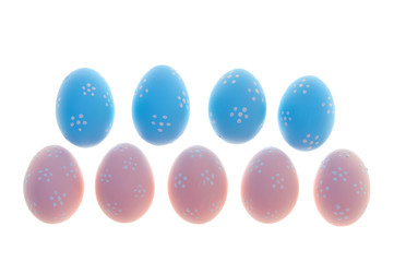 Painted Easter eggs on white background. Isolated.