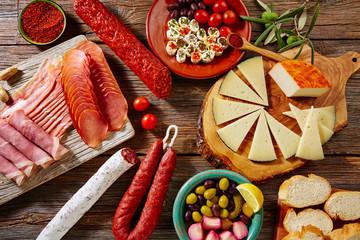 Tapas sausage from Spain jamon lomo cheese