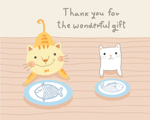 cat couple and wonderful gift vector illustration