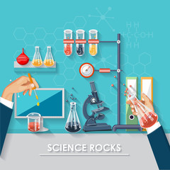 Chemistry and science infographic. Chemistry icons background for biology and medical research posters