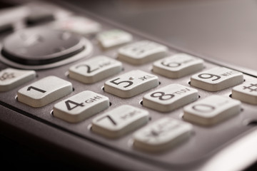 Phone keypad with letters close-up macro shot
