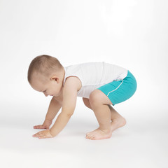 little boy on white background