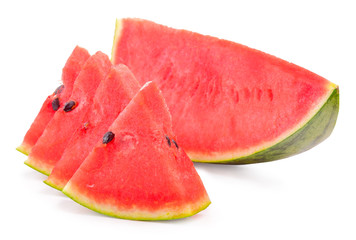 Watermelon slices on white background in selective focus.