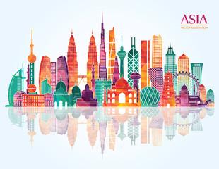 Asia detailed skyline. Vector illustration