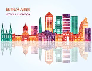 Buenos Aires detailed skyline. Vector illustration