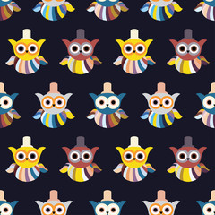 Seamless decorative vector background with owls. Print. Repeating background. Cloth design, wallpaper.