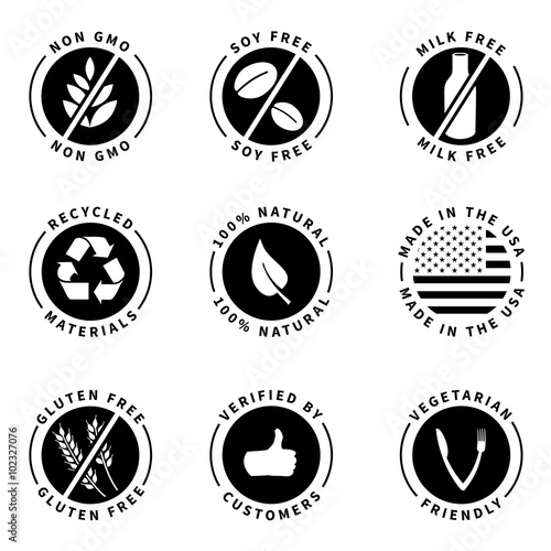 Food Product Badges Collection 1 100 Natural Gluten Free Non