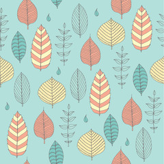Vector Seamless pattern in soft tones with sample doodle leaves.Doodle leaves vector illustration.