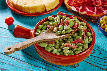 Tapas lima beans with iberico ham from Spain