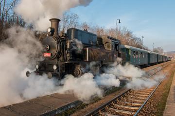 Historic Steam Train at railway station