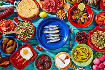 Tapas from spain mix of Mediterranean food
