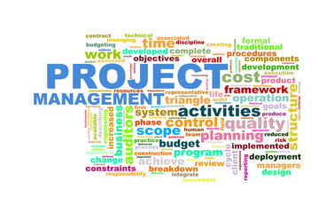 Wordcloud  word tags of project management