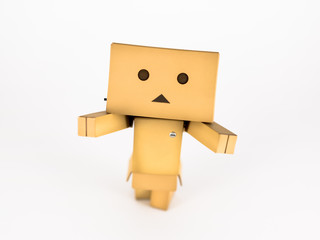 Cute Danbo character posing adorably with outstretched arms.