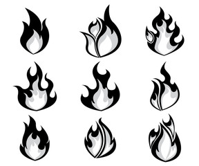Set of Fire, Flames Icon Vector