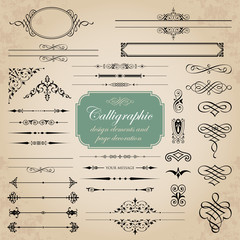 Calligraphic design elements and page decoration - vector set