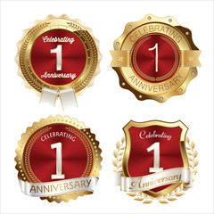Gold and Red Anniversary Badges 1st Year Celebration