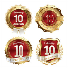Gold and Red Anniversary Badges 10th Years Celebration