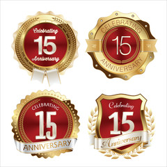 Gold and Red Anniversary Badges 15th Years Celebration