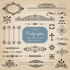 Calligraphic elements and page decoration - vector set for design