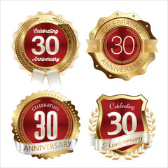 Gold and Red Anniversary Badges 30th Years Celebration