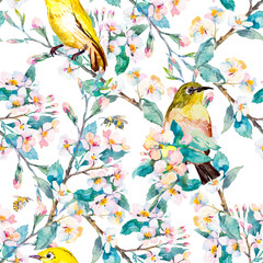 Spring flowers and birds. Pattern. Watercolor. Vector. Flowering branch.