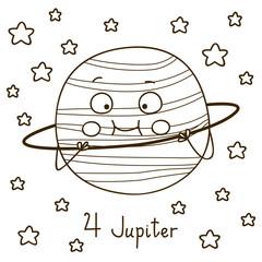 Cute cartoon Jupiter for coloring book